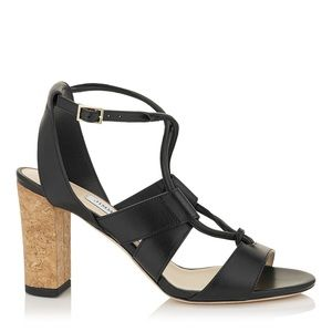 Jimmy Choo• Corked Heel Leather Sandal